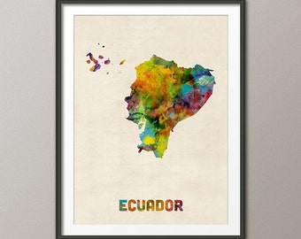 Ecuador Watercolor Map, Art Print (1326)