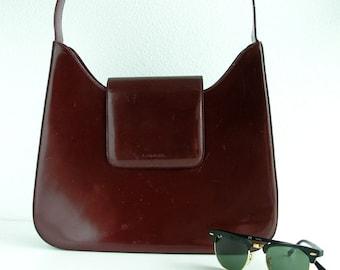 Vintage Lancel bag / burgundy bag / patent leather / big size