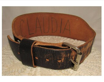 Vintage Thick & Sturdy Black Leather Weight Lifting Belt by Atlus, Size Small, fashion statement