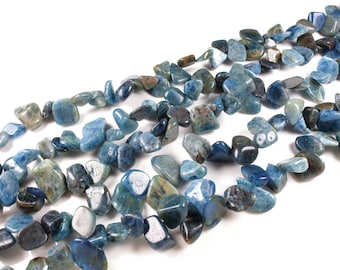 chips 10 beads / natural blue apatite nugget approximately 5 to 16mm LBP00400