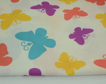 100% cotton fabric piece 160 x 50 cm, textile printing, 100% cotton Butterfly