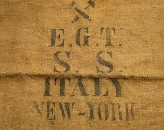 Burlap Sack, S.S. Italy New York Potato Sack, Barn and Farm Country Salvage