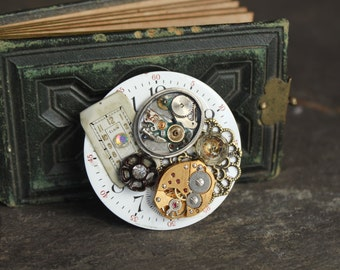 Antique steampunk Pocket Watch part brooch, pin, vintage, antique, jewelry, assemblage, steampunk, up cycled, retro gothic assemblage
