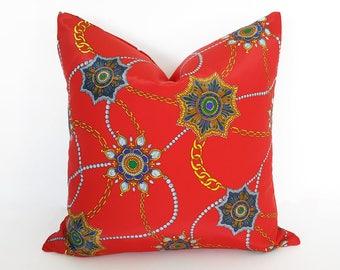 Red Bohemian Pillows, Boho Pillow, 20x20, Red Pillow, Boho Floor Pillow, Bright Red Pillows, Boho Cushions, Retro Pillows, Boho Gift For Her