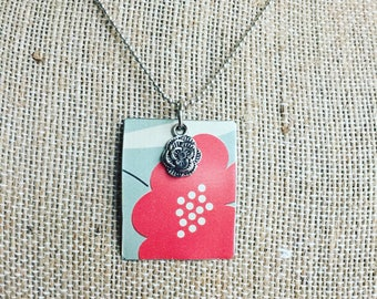 """Tin Jewelry Necklace """"Poppy"""" Tin for the Ten Year Tenth Wedding Anniversary"""
