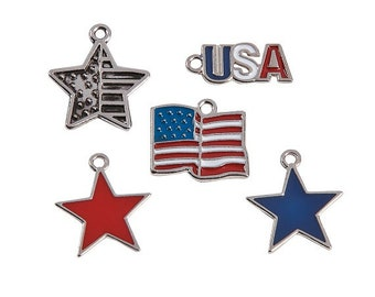 Patriotic Charm Assortment, 20mm, pack of 12