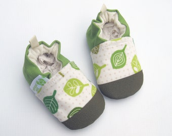 Organic Spring Leaves in Green / non-slip soft sole baby shoes / made to order / babies toddlers preschool