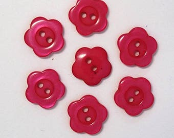 Buttons 15mm set of 10 Flower: cherry - 001966