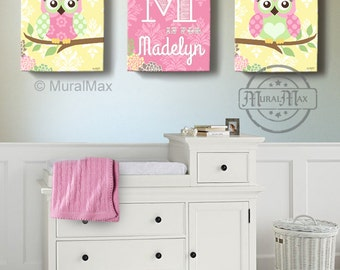 Floral Owl Girls Wall Art   Custom Personalized OWL Canvas Art, Baby Nursery  Owl Canvas Awesome Ideas