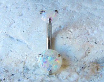 Internally Threaded Opal Navel Belly Ring..14g..10mm