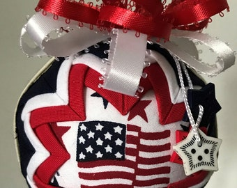 """Patriotic Red White and Blue Handmade Snow Globe Style Quilted 3"""" Ornament"""