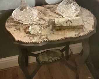 Upcycled Vintage Map Occasional Table