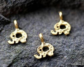 Tiny Elephant Charm, Gold Elephant Pendant, Animal Charms Wholesale Charms  Bulk Jewelry Findings RLG011