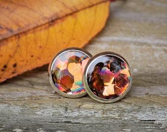 Copper Brown Glitter Earrings, Geometric Glitter, Silver Earrings, Post Earrings, Stud Earrings, Women Accessory, Silver Jewelry, Gift, Hers