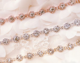 Rose gold Crystal Rhinestone Trim by the Yard  Bridal Trim silver Crystal Trim Rhinestone Applique