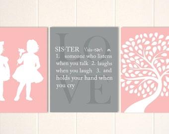 Twin sisters art, twin girls nursery, twins nursery art, sisters wall art, sisters quotes, twins, custom colors, set of 3
