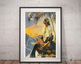 veracruz, veracruz travel poster, wall decor, vintage