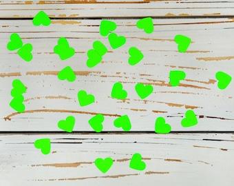 heart confetti neon green