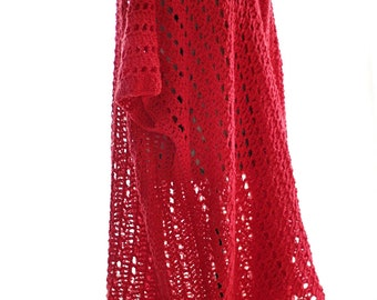 Red Crocheted Cardigan