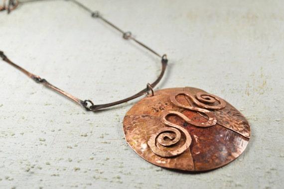 Kupfer-Kette Kupfer Schmuck Anhänger Halskette Wirbel runden