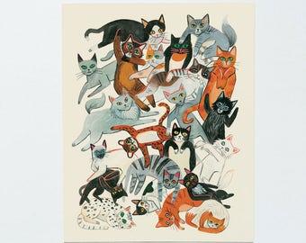 Cat Pile Print