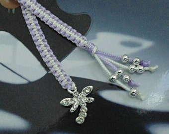 Macrame Bookmark with silver plated rhinestone Dragonfly and beads, booklover gift