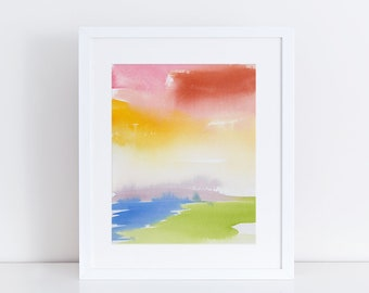Watercolor Print, Abstract Landscape, Fine Art, Contemporary Art, Modern Art, Ink, Minimalist, Abstract Art, Bohemian