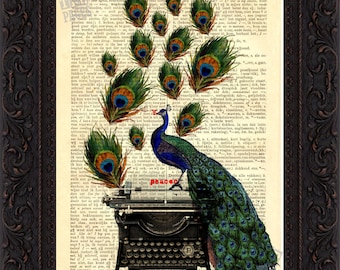 Peacock with Typewriter  Print on vintage Upcycled French English Dictionary Page mixed media  digital