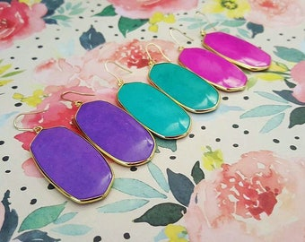 Clover Bold Bright Brass Gemstone Earrings - 9 Colours available