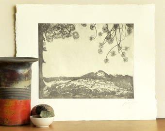Original Aquatint Print YOSEMITE Park Landscape ANSEL ADAMS Homage Fine Art Etching Printmaking Wall Decor Limited Edition 14x12