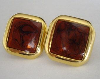 Vintage Earrings,  Brown Smokey Topaz, Goldtone, Napier, Classic Costume Jewelry, Jewelry Making Supplies