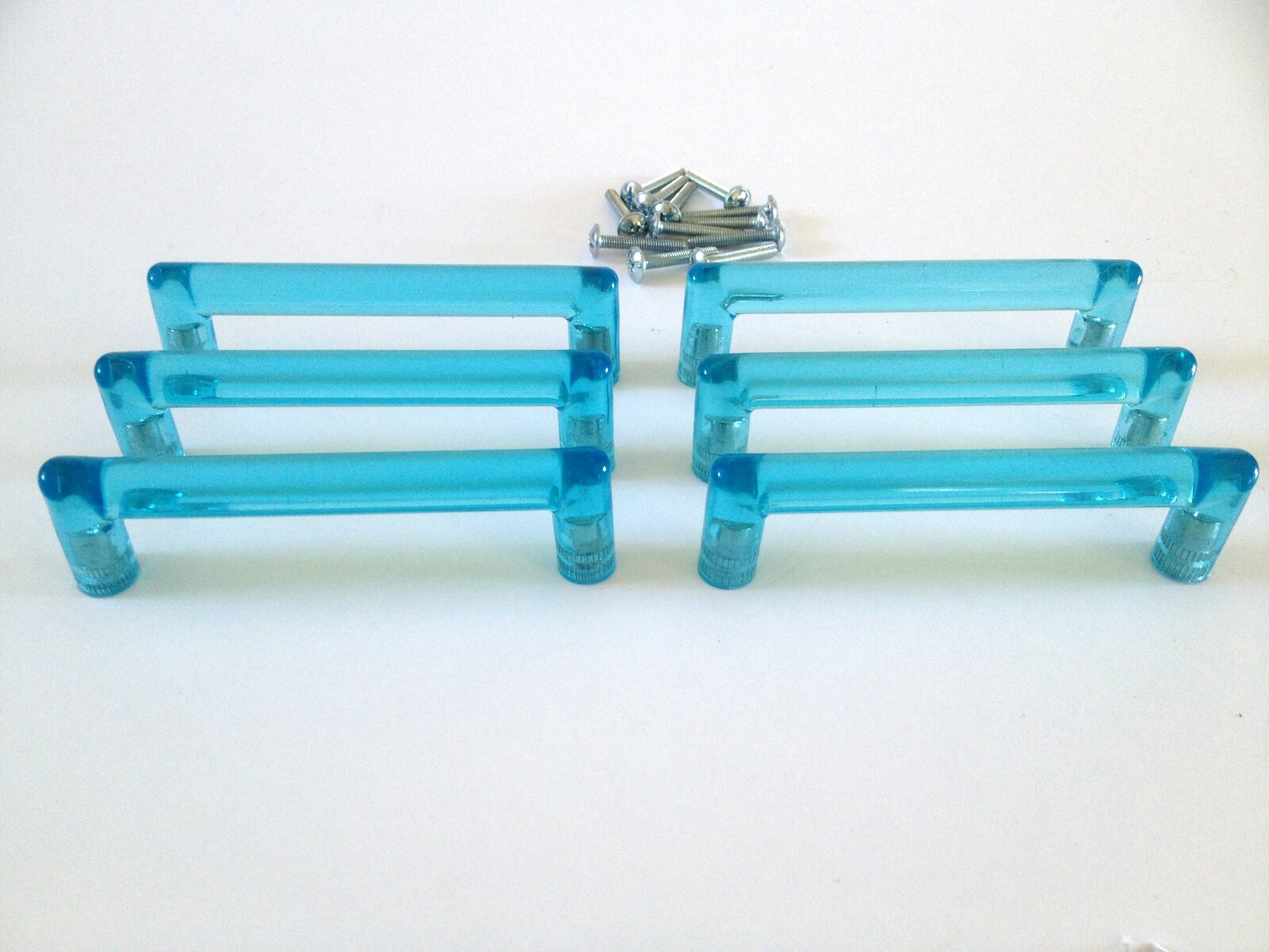 Beautiful Blue Drawer Pulls, made of lucite acrylic resin, tubular ...
