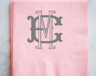 Personalized Interlocking Monogram Party Napkins, Custom Monogram Wedding Napkins, Personalized Printed Napkins, Monogrammed Bar Napkins