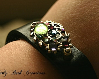 Circus Steam Punk Bindi Style Leather Bracelet
