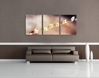 Fine Art Photography Print Set of 3 Wall Decor Collage,Dried Flower Oversized Wall Art -Seeding Flower in Gray