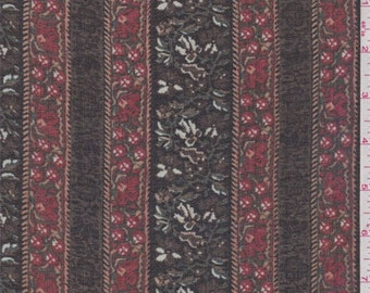 Black/Red Floral Wallpaper Stripe Chiffon, Fabric By The Yard