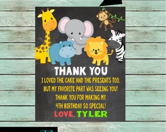 Zoo Jungle Safari Animals Birthday Party Thank You Note Cards ~ We Print and Mail to You