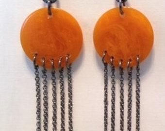 5 Chain Butterscotch Bakelite Earrings