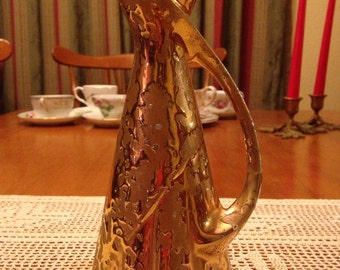 Cool Fifties Gold Drip Glaze Vase