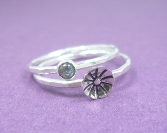 Sterling Silver Flower and Labradorite Stacking Rings