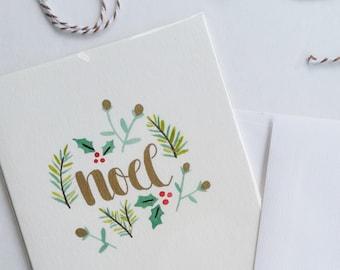 Noel Handpainted Botanical Watercolor Card Original Print Christmas Card