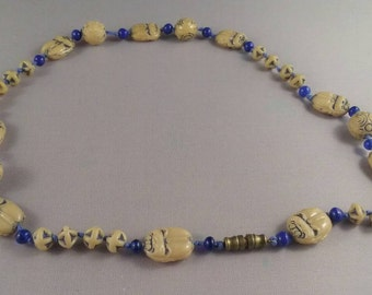 Egyptian Revival Necklace Art Deco Neiger Brothers  Scarab  Beetle Czech Glass