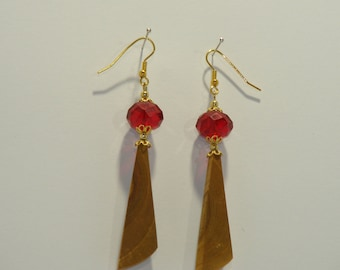 Earrings,Valentine's Day Gift,Jewelry,Accessories,Event,Surprise,Gift For Women,Wood,Stone,Glass,Gold plated metal