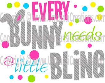 "DIY Printable ""Every Bunny Needs a Little Bling"" Iron On Transfer (PNG Digital Image)"