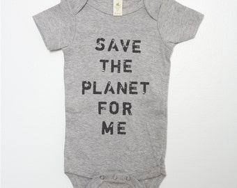 Environmental Organic Cotton Baby Bodysuit Save The Planet For Me Infant Creeper One Piece Heather Gray Grey Grunge Earth Conservation