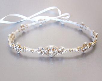 Bridal halo headpiece, Swarovski bridal halo, Wedding halo in Gold, Silver, Rose gold, Bridal headband halo with crystal and pearl