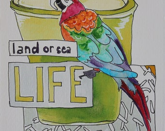 Land or Sea LIFE. Fine Art, Painting, Silly Art, Gift Art, Small Art, Watercolor
