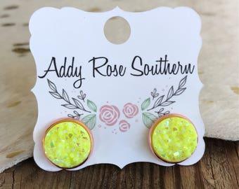 Neon yellow druzy earrings, rose gold druzy, druzy earrings