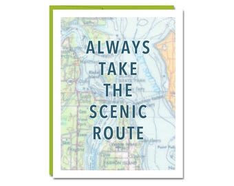 NEW // Take The Scenic Route Card // Travel Card // Greeting Card // Wanderlust // Adventure Card // Map Art Card // Rachel Austin Cards