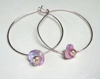Pink Pearl Rose Gold Hoops, Removeable Freshwater Keshi Pearl Drops - Handmade Convertible Earrings - June Birthday